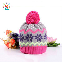 Knitting Winter Warm Earflap Cap Fashion Crochet Baby Hat Jacquard Weave Beanie Hat