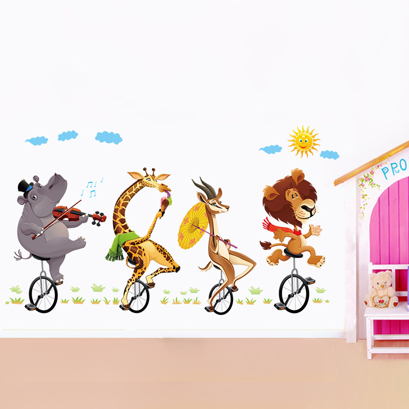 removable animal circus giraffe forest wall sticker - buy forest