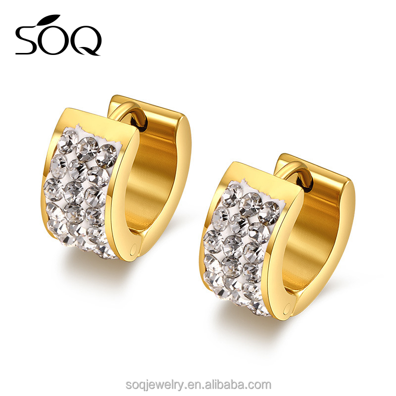 Factory price gold Plated stainless steel the three row Zircon earrings stud