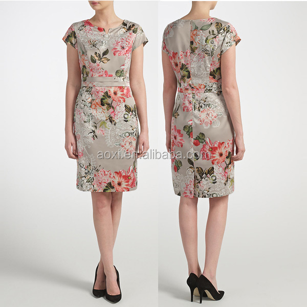 Fashion pencil dress designing women vestidos work wear embroidered office dress