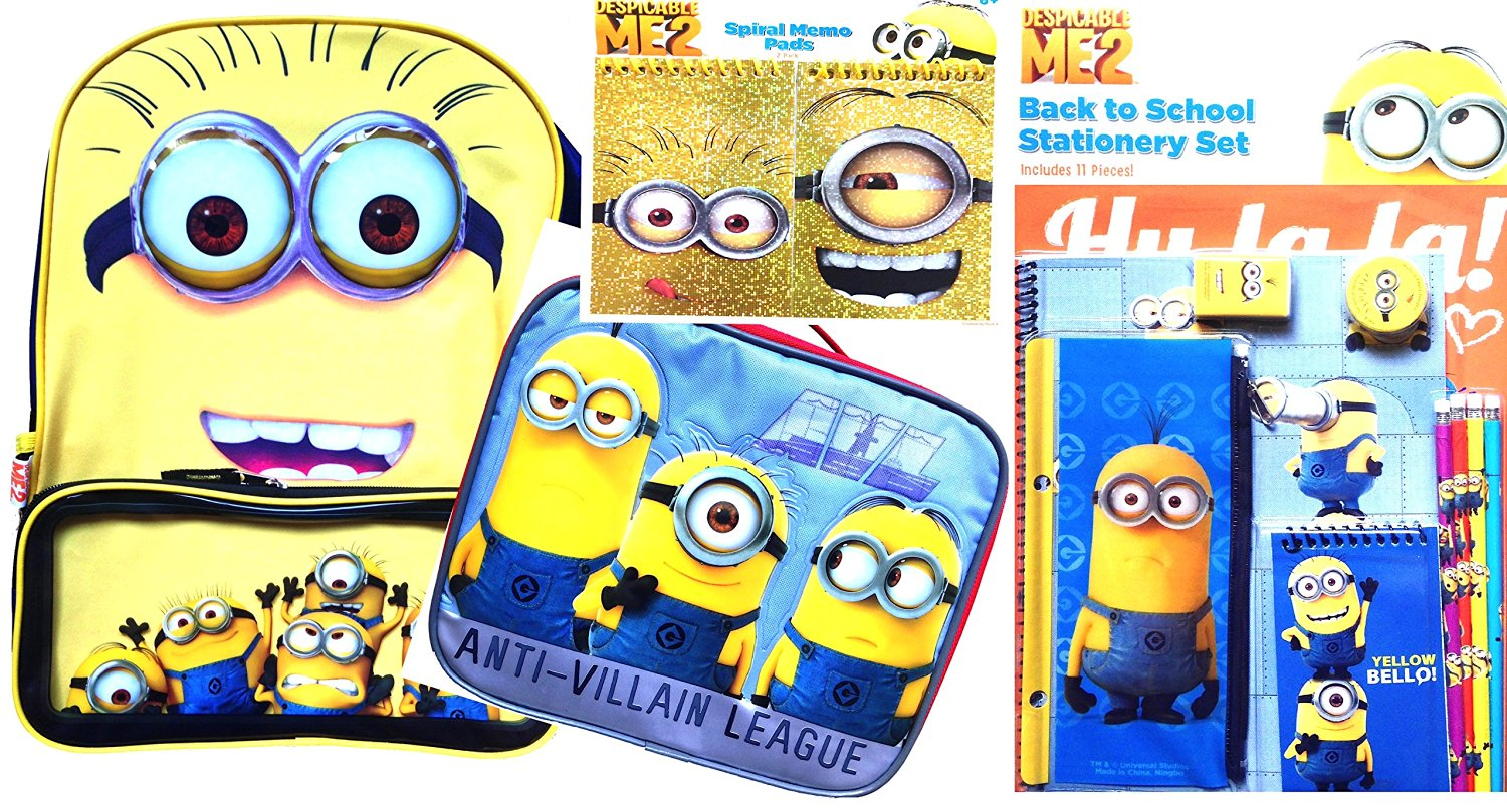 Despicable Me 2 Back to School Backpack with Lunch Box Includes Back to School Arts and Crafts Classroom Supplies (SCHOOL BACKPACK LUNCH BOX DELUXE)