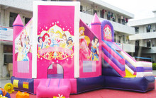 New arrival inflatable princess moonwalk bouncy castle with slide, inflatable bouncer combo