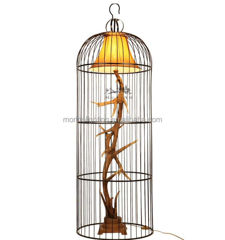 Europe rustic indoor standing living room metal cage floor lamp