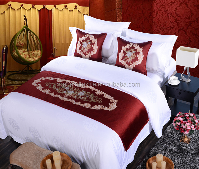 elegant and luxury red premium bed runner and cushions from Alibaba