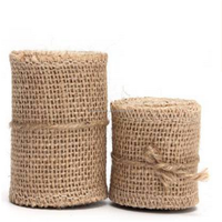 Gold supplier Eco friendly Multi purpose Plain Knitted Nature color burlap wire ribbon