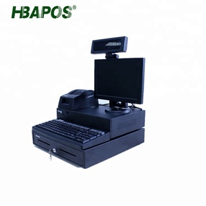 HBAPOS Factory Price All in one POS system cash register and scanner with customer display