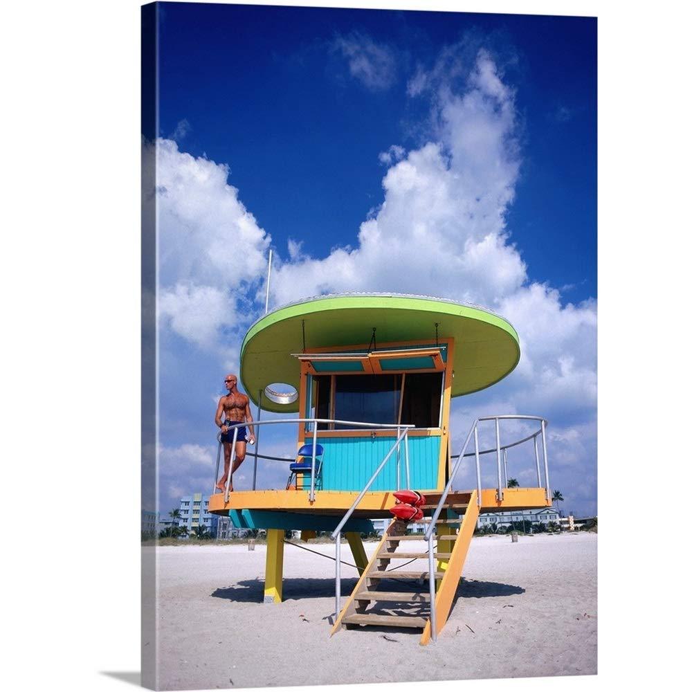 12 x 12 Rikki Knight Colorful Beach Huts Design Ceramic Art Tile