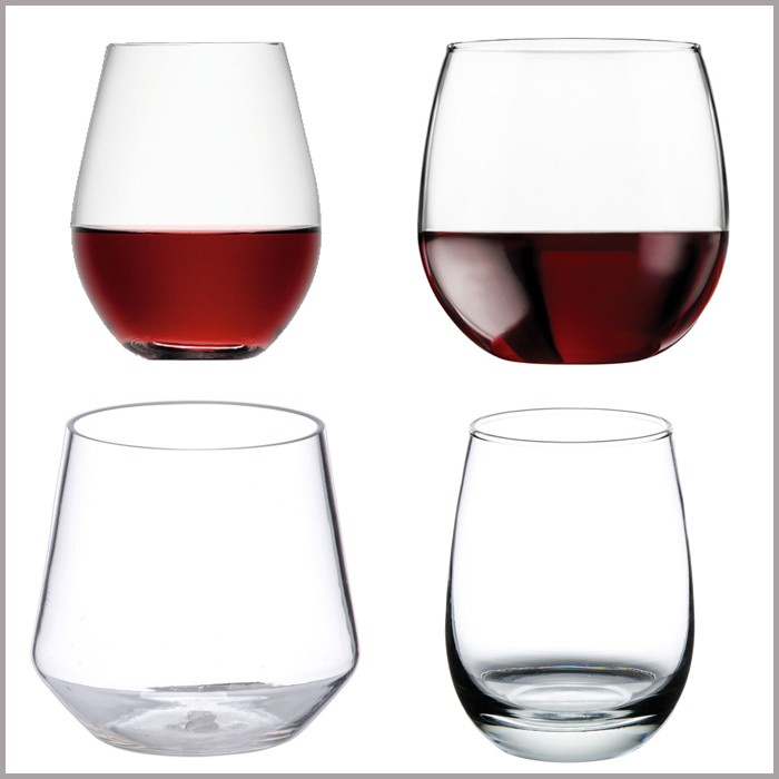 Etched colored flat bottom stemless wine glass with your company logo