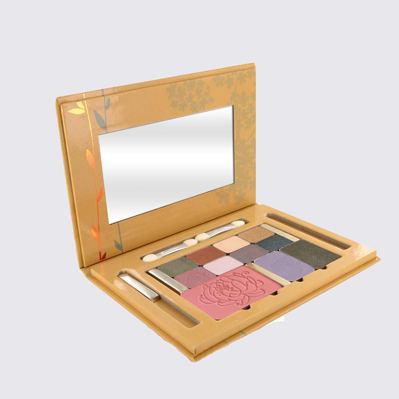 Customized cosmetic palette packaging for eyeshadow and brushes package