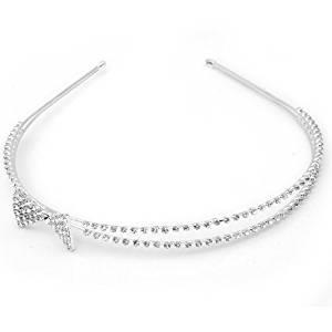 TOOGOO(R) Silver Plated Crystal Rhinestone Bow Wedding Bridal Headband Tiara Hair Band