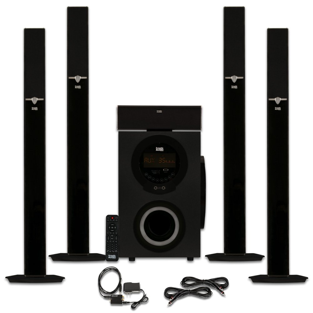 Acoustic Audio AAT3003 Tower 5.1 Bluetooth Speaker System with Optical Input and 2 Extension Cables