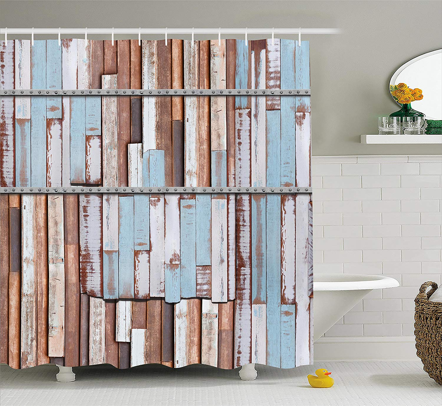 Get quotations · ambesonne rustic decor shower curtain long wooden planks tree designs on with rusty metal screws