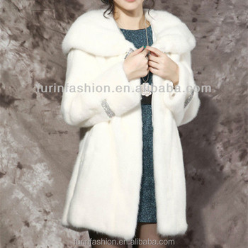 New Style White Mink Fur Coat With Good Prices 100% Real Mink Fur Long Pile eb045eb4f