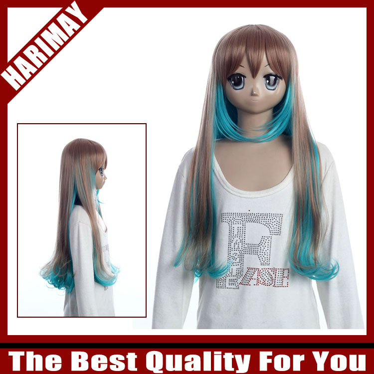 Ochre brown and blue two mixed colou wig
