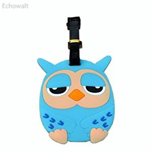 Cool Owl Luggage Tag PVC Name Badges Plastic Luggage Tag Travel Baggage Tag BLUE - Echowalt updated