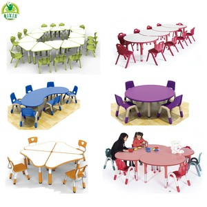 2019 New designGuangzhou wholesale folding plastic kids table chair sets classroom kids study table and chair for kids furniture