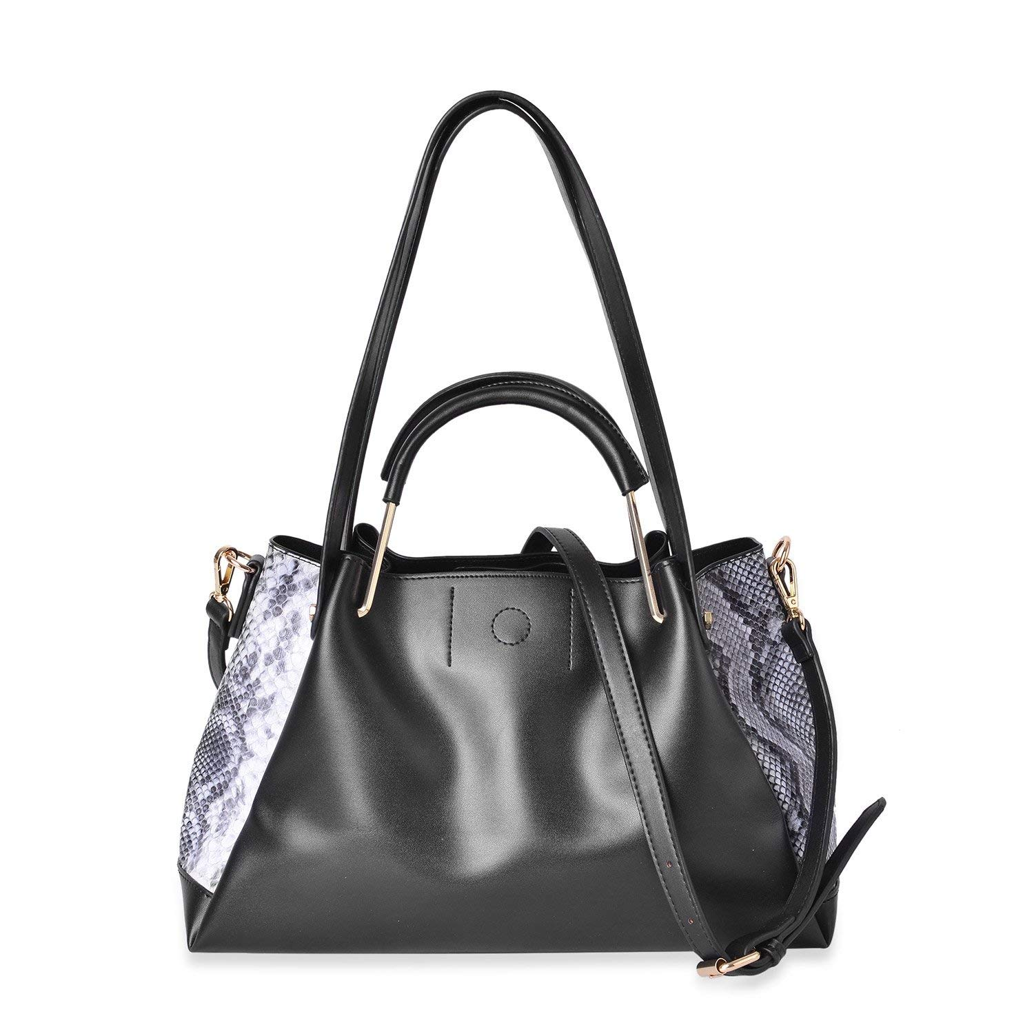 Get Quotations · Black on Black Snake Pattern Side Faux Leather Hobo Tote  Bag with Removable Strap and Standing 59aea7de82