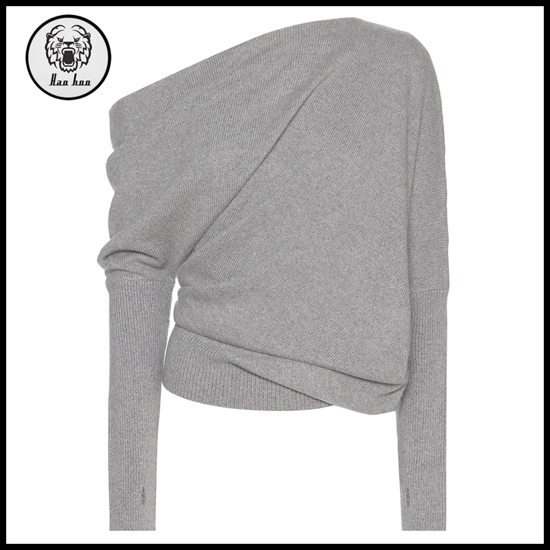 2017 Fashion women clothing asymmetrical cosy cashmere sweater with thumb hole