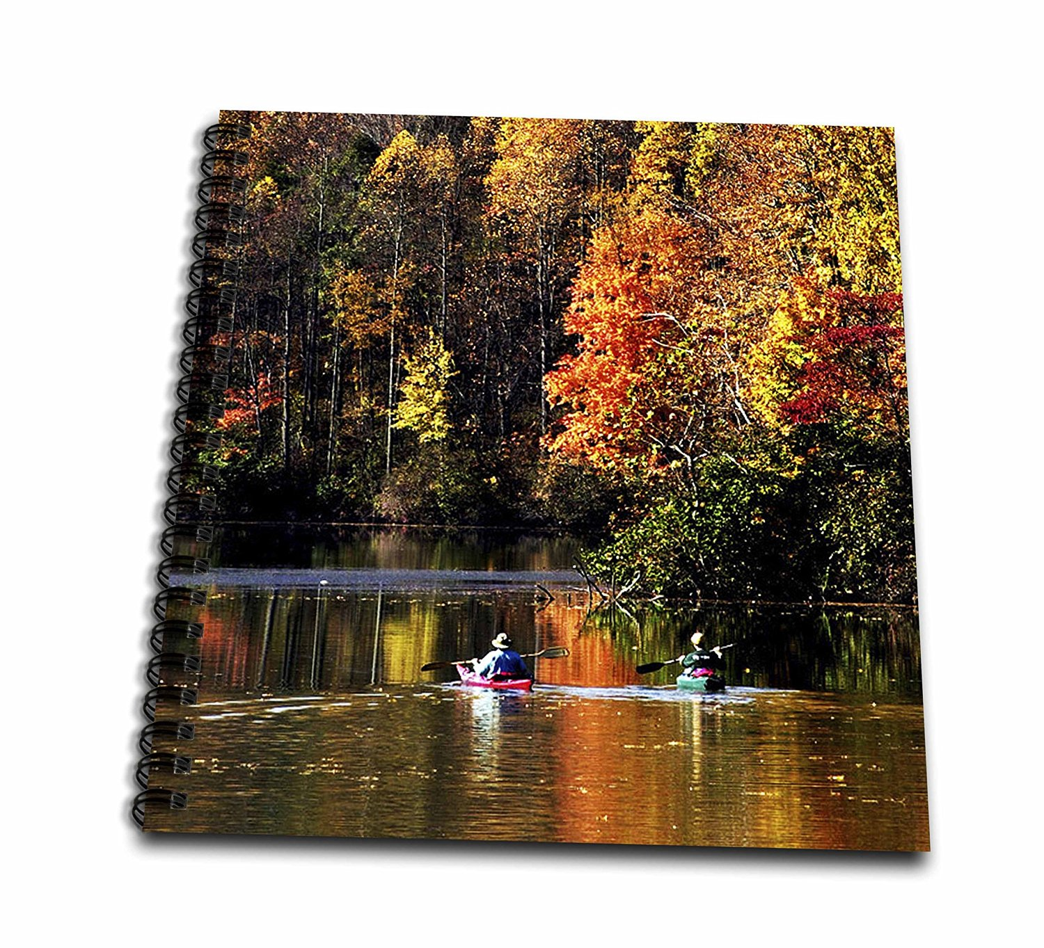 3dRose db_61695_1 Canoeing on Lake Logan in Autumn at Hocking Hills State Park Drawing Book, 8 by 8-Inch