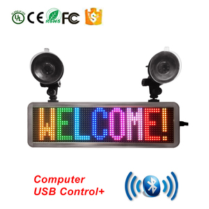Full Color LED Display P4.75-16X64 S-RGB Bluetooth APP Control LED Message Scrolling Board and Suckers Multi-Language