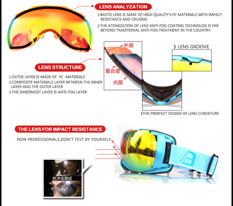 Top basto's ski goggle with anti- fog and double lens