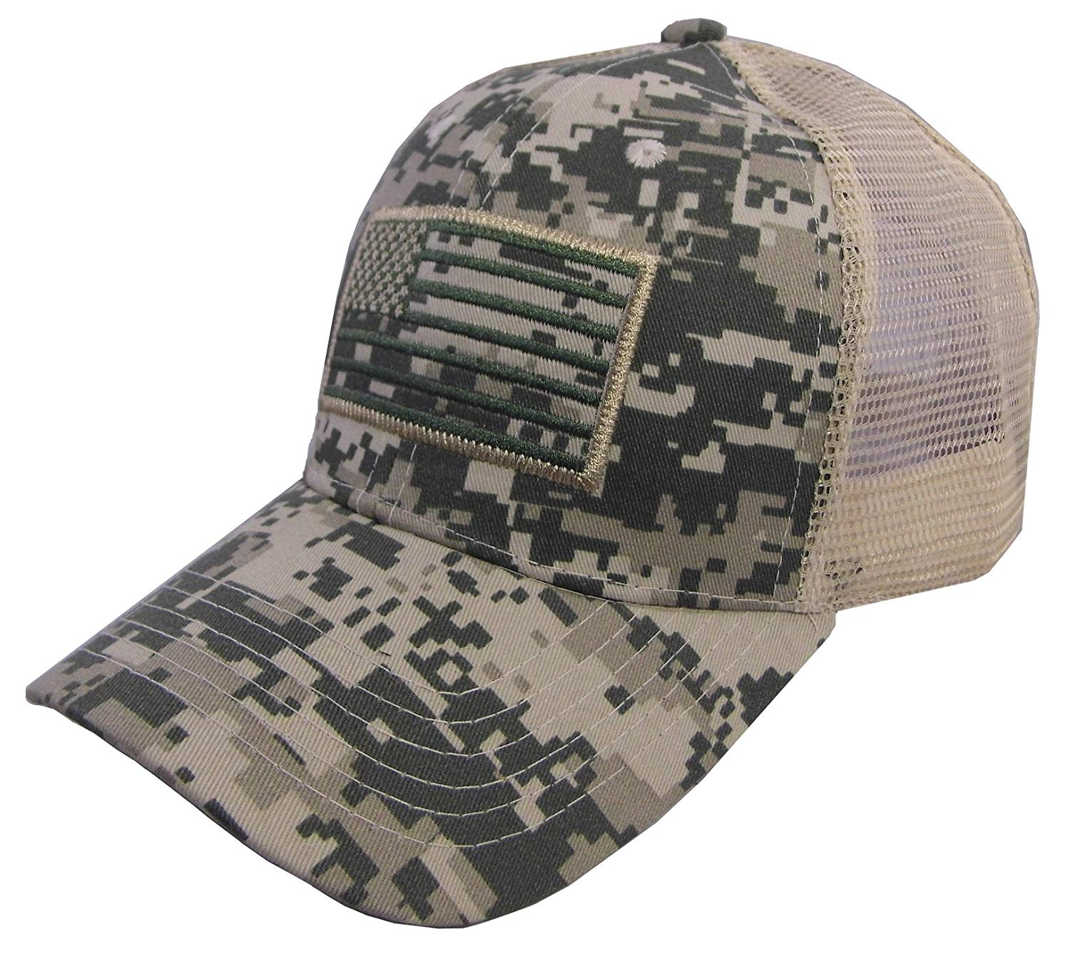 1e19eb7c727 Get Quotations · US American Flag Patch Tactical Style Mesh Trucker  Baseball Cap Hat