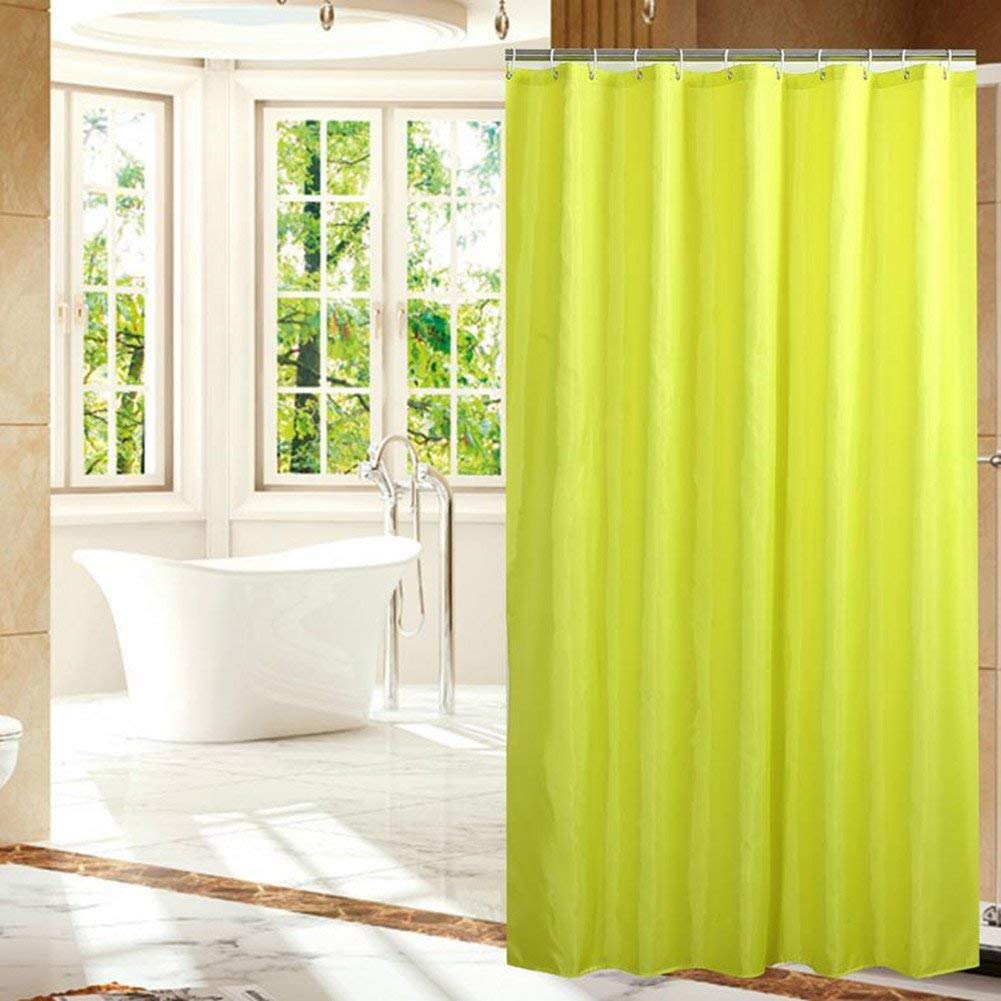 Fanjow Mildew Resistant Fabric Shower Curtain Water Repellent Bathroom Shower Curtain Solid Color Polyester Bath Curtain With 12 Hooks, Fashion Decorative Shower Curtain (72Wx72L, Lime)