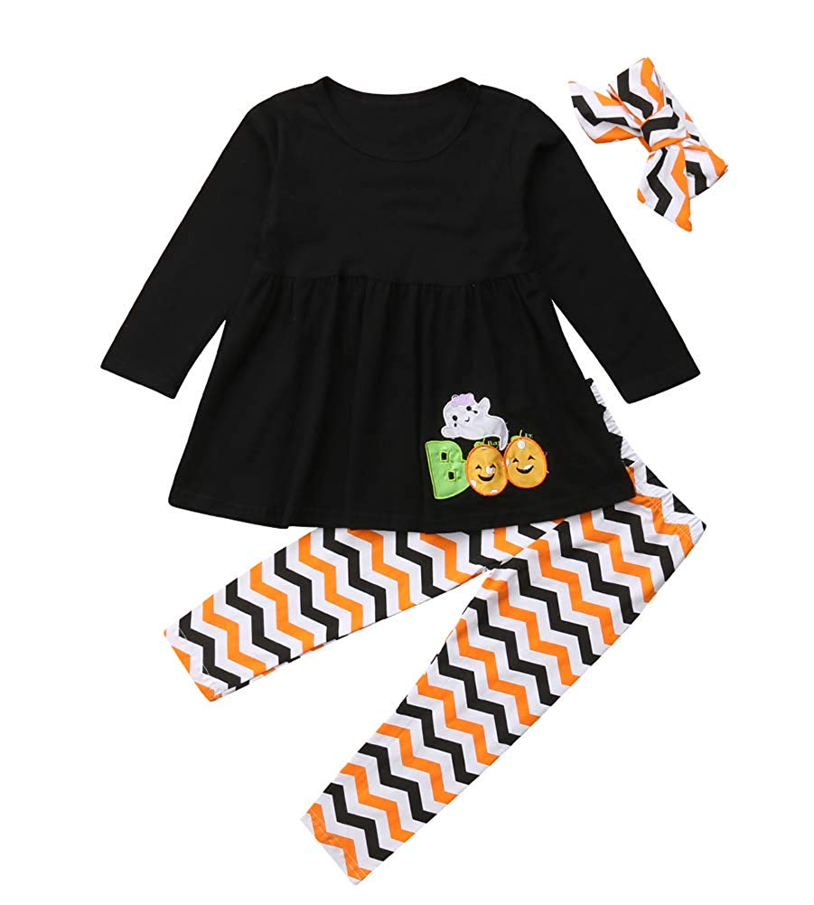 0e269a488ddd Get Quotations · Thanksgiving Day Clothing Sets Kids Baby Girls Long Sleeve  Tops Dress+ Turkey Legging Outfit