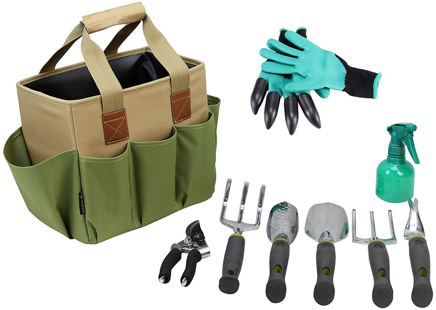 Gardening Tools Set | Garden Tools Kit | Gardening Gloves | 9 Piece Garden Tool Set | Digging Claw Gardening Gloves Gardening Gifts Tool Set | Planting Tools | Gardening Supplies Basket | Rake Gloves