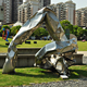 2Meters height abstract forged stainless steel sculpture for garden