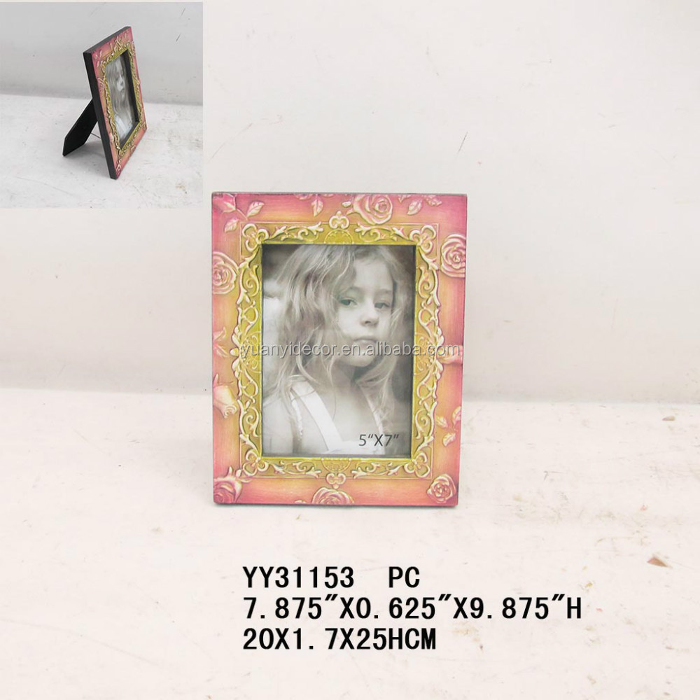 flower wooden photo frame, embossed picture photo frame