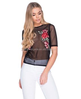 74214dd87966b 卸売透明花刺繍メッシュ Tシャツトップス女性のセクシーな - Buy ...