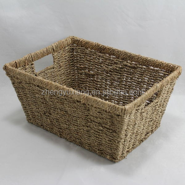 Small Rect Tapered Seagrass Storage Basket Natural