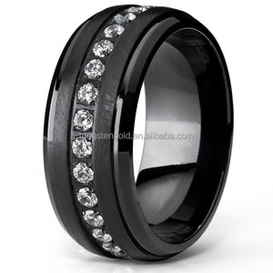 Mens Titanium Ring Eternity Wedding Bands with Clear Round Cubic Zirconia Black Stone Ring For Men 9mm