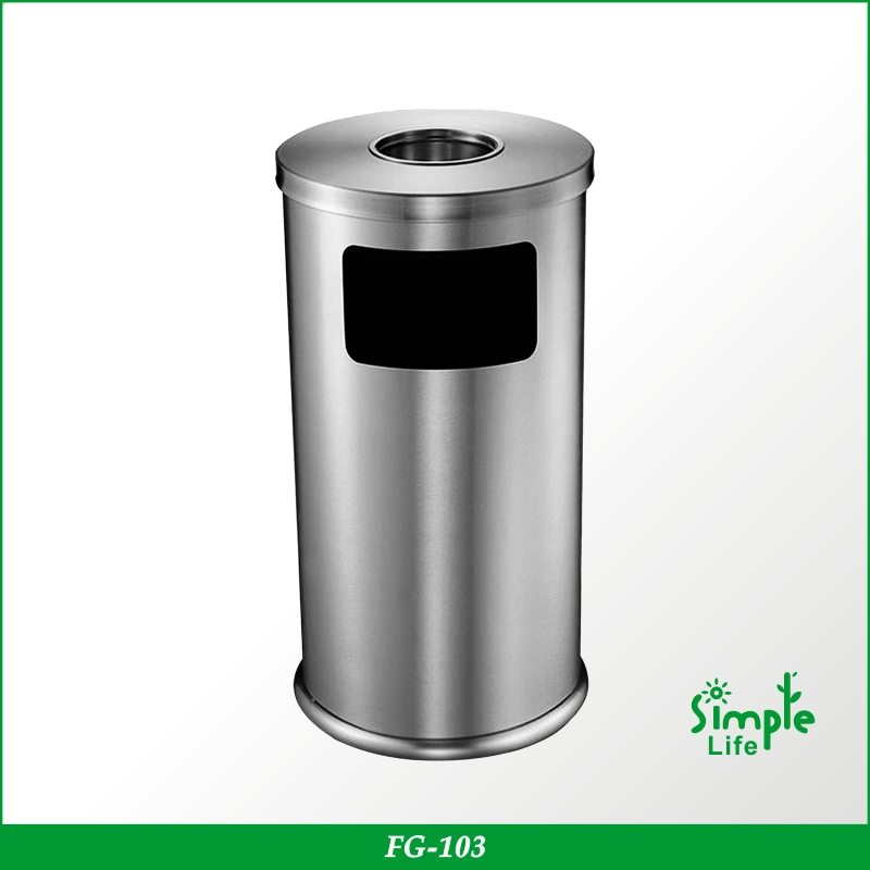Stainless Steel Round Ashtray Waste Bin With Inner Basket/Houseware