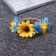 Imitation yellow sunflower garland wristband bracelets diy artificial sunflower wristband bracelets for women beach jewelry