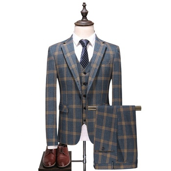Hot Sale Stylish Plus Size 5xl Mens Plaid Waistcoat 3 piece Groom Wedding Suit