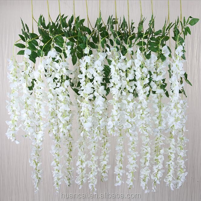 Wedding stage or background artificial silk white wisteria flower wholesale