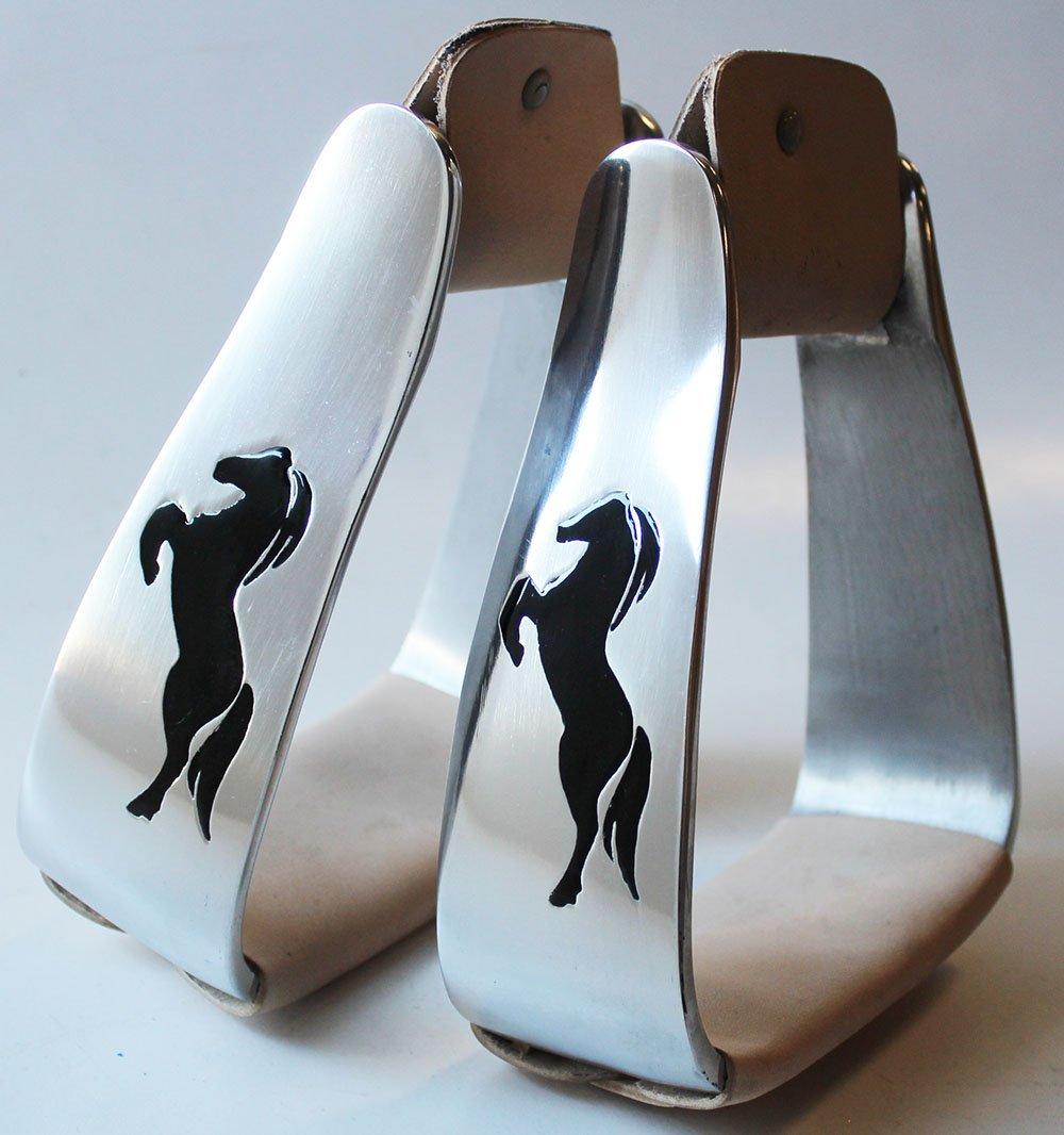 PRORIDER Horse Saddle Purple Cross Angled Slanted Aluminum Stirrups 51103
