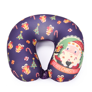 Children Microbeads Christmas printed U Shaped Travel Pillow Neck Support Airplane / Cars / Home foam pillow