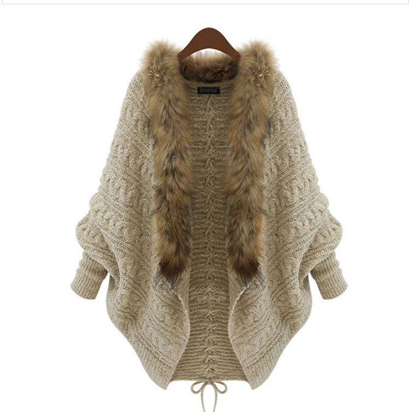 Get Quotations · Fashion Women Loose Fur Collar Cardigan Sweater 2015  Autumn Winter Ladies New Design Batwing Sleeve Overcoat 52173e9c5