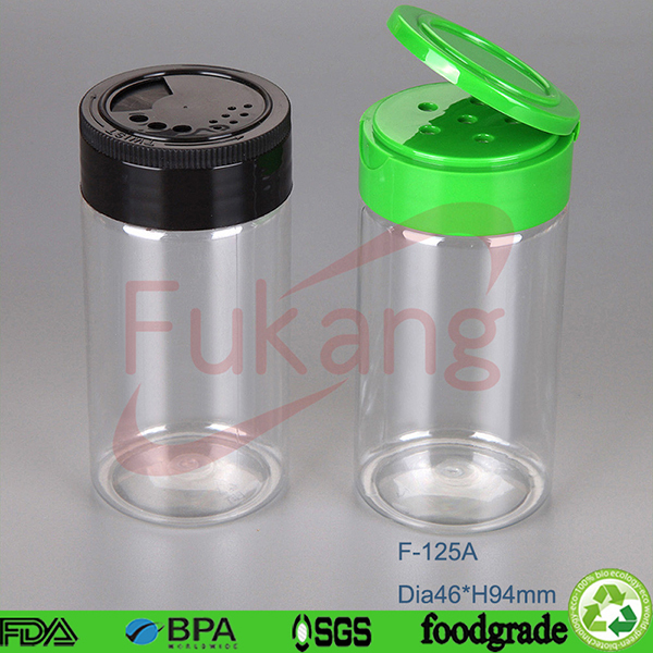 140ml Clear Pet Plastic Custom Spice Bottle With Flip Top