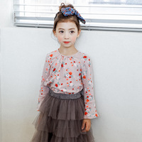S61395B New Design little girl sweet flower print t-shirt cotton t shirt for kids