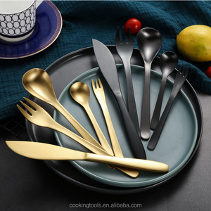 Japanese-style frosted stainless steel knife and fork rose gold spoon ceramic matching brushed matte knife and fork set