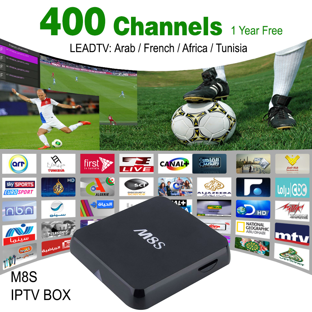 2016 Best Android Tv box Arabic Iptv Receiver M8S Tv Media Player + 1 Year  arabic iptv apk account 400 Channels Sport Canal - drone4sky
