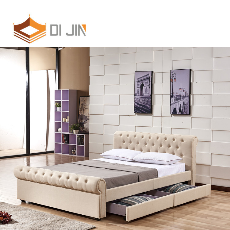 upholstery leather bed with led decoration Leather bed frame grey PU bed