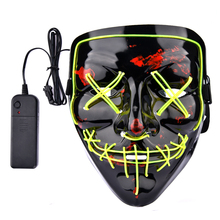 Assustador do Dia Das Bruxas Cosplay LED Light up Máscara para <span class=keywords><strong>Festa</strong></span> Festival <span class=keywords><strong>Halloween</strong></span> Trajes Máscara de Hóquei