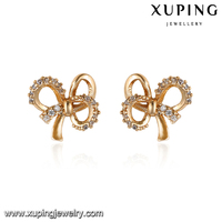 93240-high quality costume fashion jewelry 18k gold knot earrings