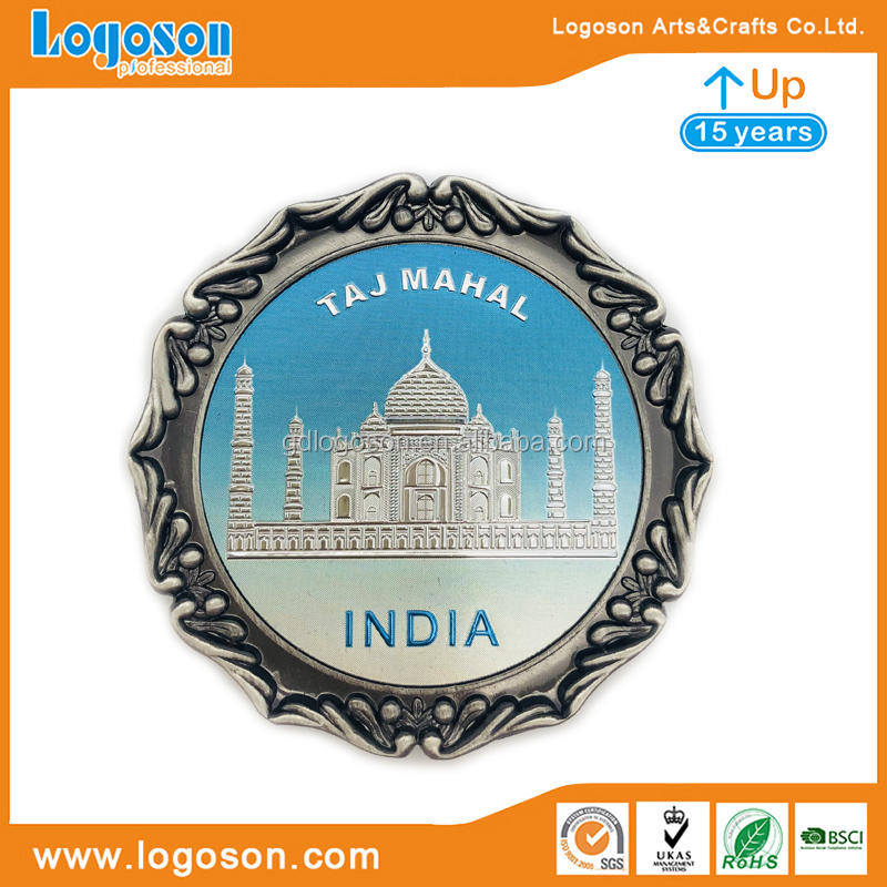 Souvenir Metal Taj Mahal India Plate With Stand And Box Packing Indian Souvenir Fridge Magnet
