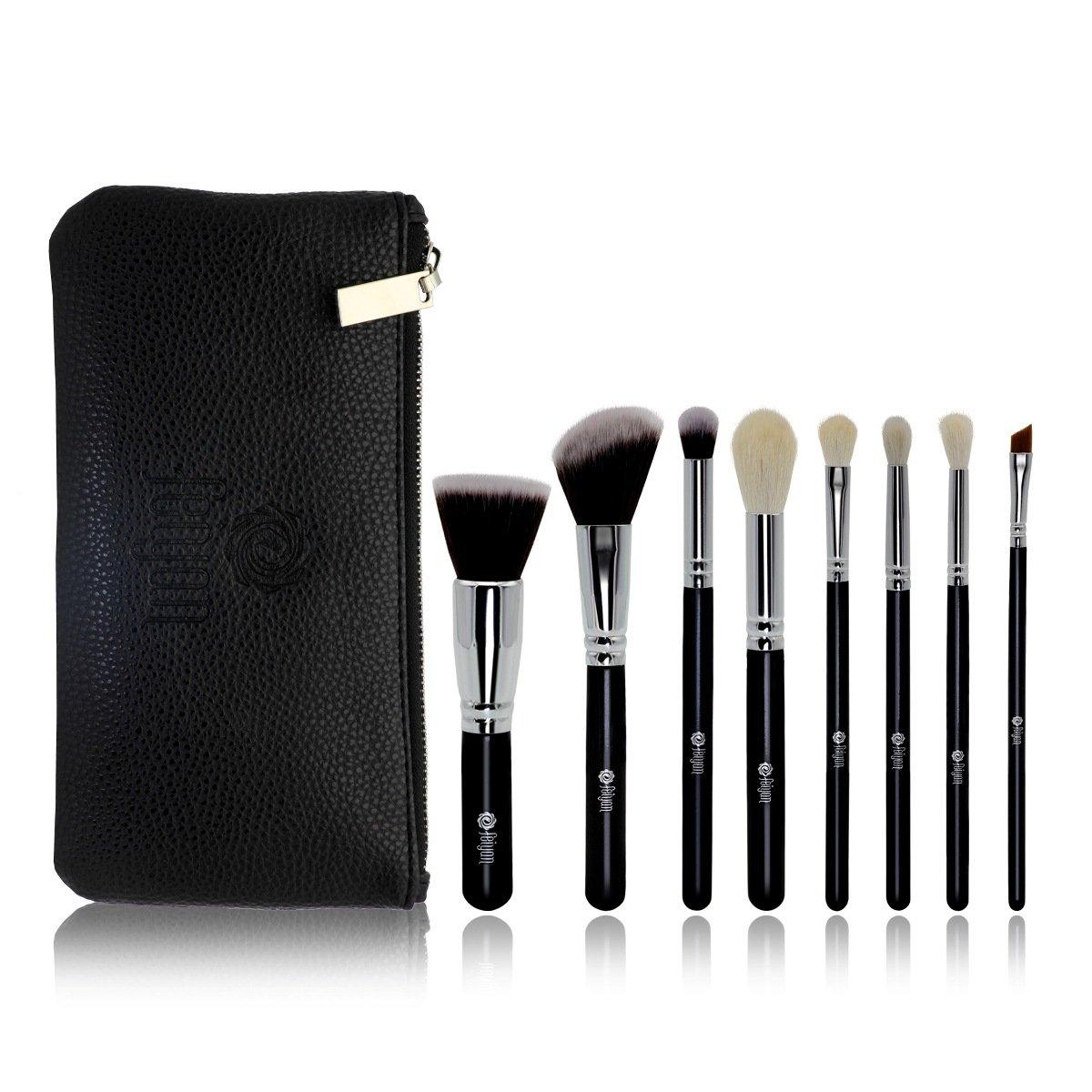 FEIYAN Makeup Brushes Set Natural Goat Hair Synthetic Makeup Brush Set Professional Kabuki Makeup Foundation Eyeliner Lip Powder Cosmetic Brushes Kit with Zipper Bag (8 pcs, Black1)